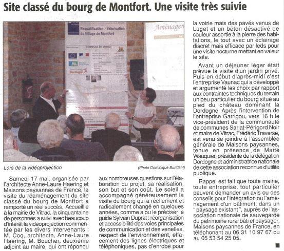 Agence COQ & LEFRANCQ - article Montfort Essor Sarladais